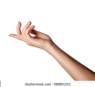 Female gesture hand isolated on  a white background.
