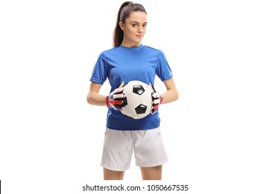 Female goalkeeper holding a football isolated on white background
