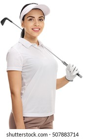 Female golfer posing with a golf club isolated on white background