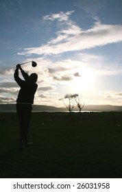 Female golfer in Scotland
