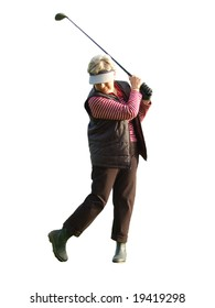 female golfer teeing off isolated on white background