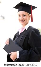Female graduate smiling