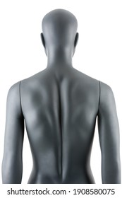 Female gray athletic mannequin doll or store display dummy isolated. Woman gray clothing doll, muscular athletic build, great impressive physique. Front, side or back view, closeup on body parts.