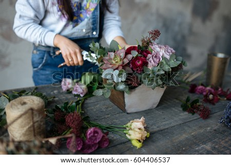 Female Gray Blouse Jeans Make Bouquet Stock Photo Edit Now