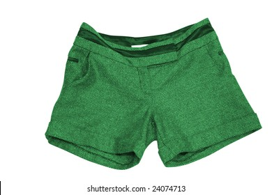 female green shorts isolated on white (contains clipping path)