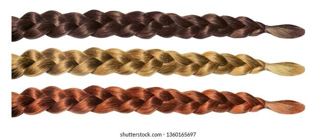 Female hair wig pigtail plait isolated set. Blonde brunette brown hair