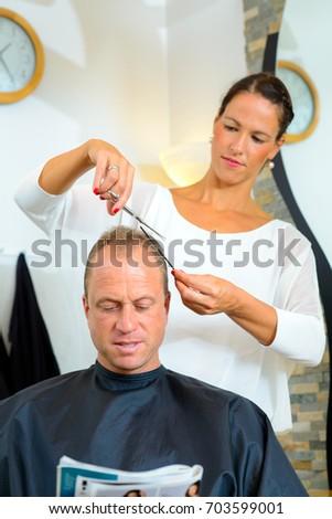 Female Hairdresser Cutting Hair Man Her Stock Photo Edit Now