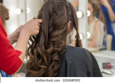 Female hairdresser standing and making hairstyle to cute lovely young  brunette woman in beauty salon