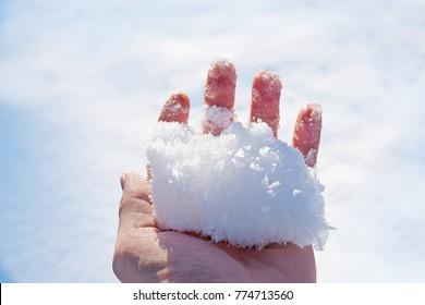 female hand with bare fingers holding a handful of fresh snow against the sky. closeup of snowball fight