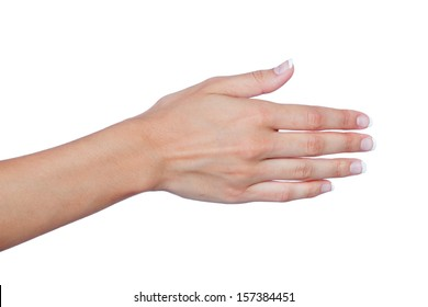 Female hand with beautiful nails extended to greet isolated on a white background