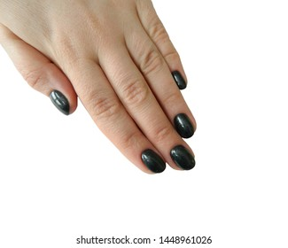 Female hand with black manicure isolated on white background. Black nail polich