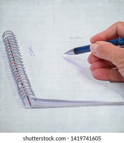 Female hand in blue sweater checking a to do list with written numbers