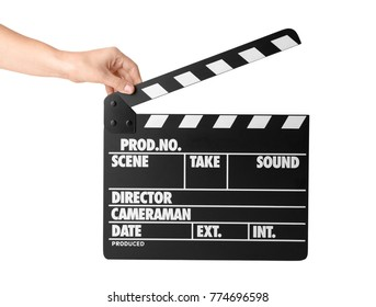 Female hand with clapperboard against white background