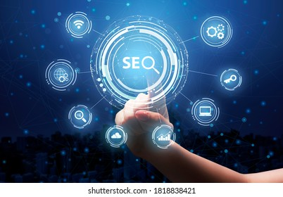 Female Hand Clicking Seo Keyword On Virtual Panel Choosing Seo-Optimization Tools Over Blue Background. Internet Content Optimization Services For Online Business Concept. Collage, Cropped