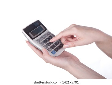 female hand counts on a calculator on a white background.  biznes. finansy.  - Shutterstock ID 142175701