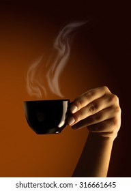 Female hand with cup of coffee