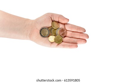 Female hand with euro cent coins. Women hands with coins.