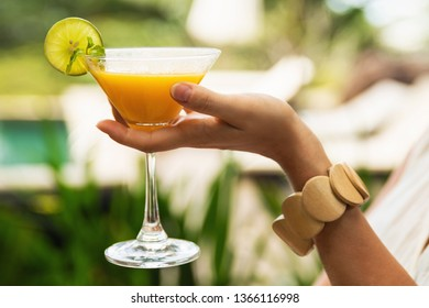 Female hand with a frozen Daiquiri cocktail