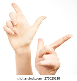 Female hand gesture isolated on white background