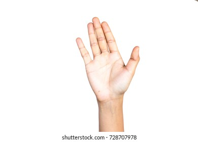 Female hand gesture making number five on white background.