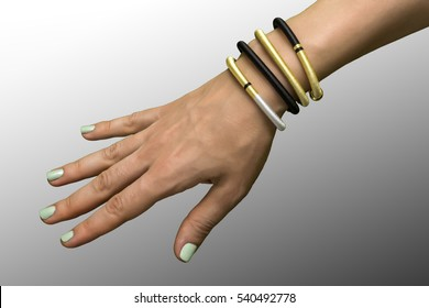 a female hand with handmade varicoloured bracelets on a gradient gray background  Perfect background for a text