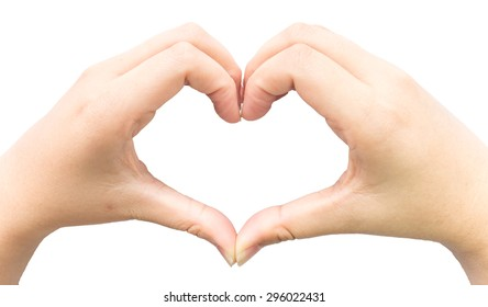 Female hand with heart shape with isolated background.