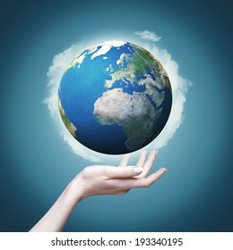 Female hand hold 3D rendered Earth globe. Environmental backgrounds, eco concept