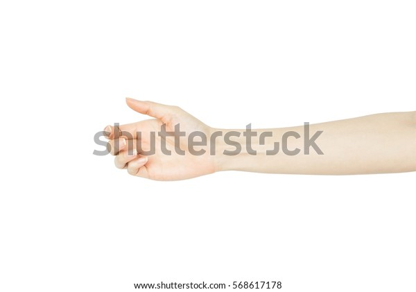 Female hand hold or catch isolated on white background
