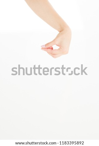 Female Hand Hold Invisible Items Isolated Stock Photo (Edit
