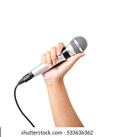 Female hand hold microphone isolated on white background, Saved clipping path.