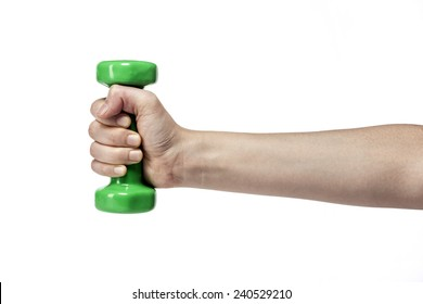 A female hand hold(grip) a green dumbbell for health(fitness) isolated white at the studio.