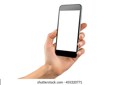 Female hand holding black cellphone with white screen at isolated background.
