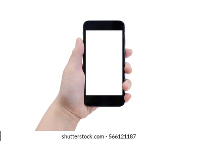 Female hand holding black phone. Isolated on white background, clipping path.