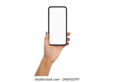 Female hand holding black smart phone with white blank empty screen for mockup, isolated on white studio background, browsing information, using application. Technology Concept