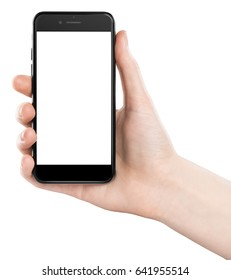 female hand holding black smartphone with isolated white screen