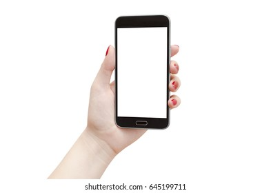 Female hand holding black smartphone with empty screen on white background