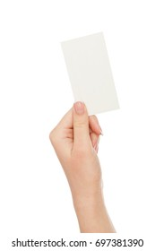 Female hand holding blank card for text message isolated on white background, close-up, cutout, copy space