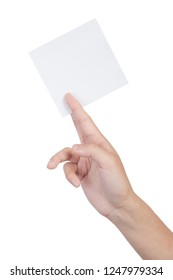 Female hand holding blank sheet of paper isolated on white