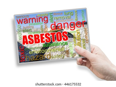 A female hand holding a card with asbestos theme