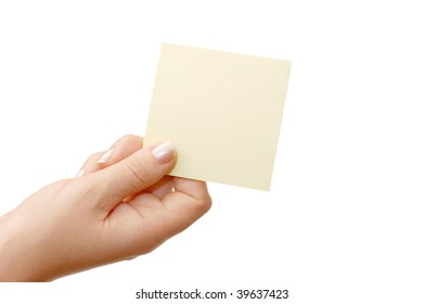 Female hand holding a  card isolated
