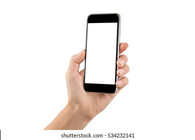 Female hand holding cellphone isolated at white background.