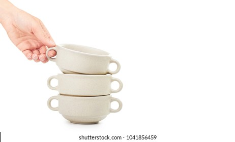 female hand holding ceramic bowl for soup . Isolated on white background. copy space  sc 1 st  Shutterstock & Soup Bowl With Handle Images Stock Photos \u0026 Vectors | Shutterstock