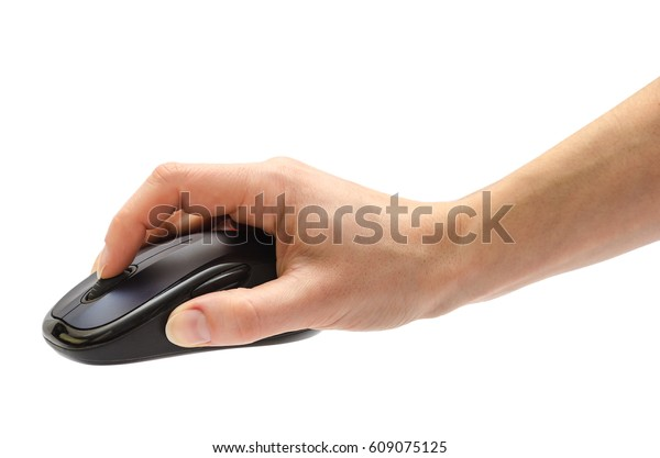 female hand holding computer mouse. Isolated on white background