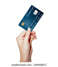 female hand holding credit card isolated on white