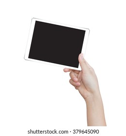 female hand holding digital tablet similar to ipad air isolated clipping patch easy add image inside image data