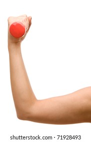 Female hand holding a dumbbell isolated on white