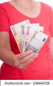 Female hand is holding euro notes