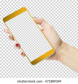 Female hand holding golden phone with transparent screen and background isolated on white
