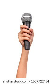 Female hand holding a microphone isolated on white background, clipping path