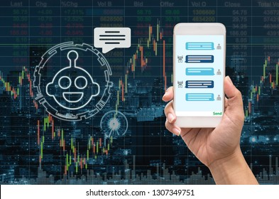 Female hand holding mobile phone showing the chatbot message While being decided place the order over the Stock market chart with cityscape, AI technology concept